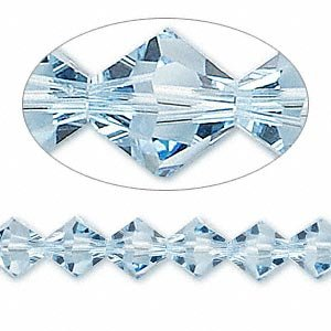 - Swarovski 5328 Xilion Bicone Diamond Beads, Transparent, Aquamarine, 8-mm, 12/Pack