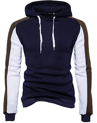 Pullover Block today blue UK Color Sleeve Long Men Hooded Navy Sweatshirt Casual rrOq8R