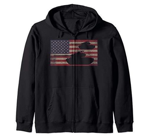 M26 Pershing Tank USA Patriotic Flag Gift Zip Hoodie (Army Zip Hoodie)
