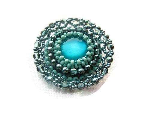 Turquoise beadwork medal brooch pin - large round turquoise medal brooch - bead embroidery beaded embroidered brooch medal