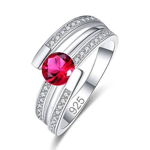 Narica Women's 925 Sterling Silver Filled Round Cut Ruby Spinel Engagement Wedding Rings Size 7 ()