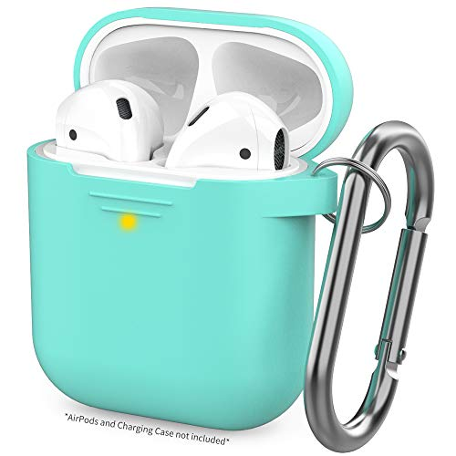 AHASTYLE Upgrade AirPods Case Protective Cover [Front LED Visible] Silicone Compatible with Apple AirPods 2 & 1(Mint Green)