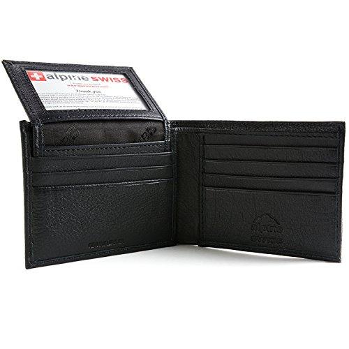 Alpine Swiss Men's 2-In-1 Bi-fold Wallet & Card Case Black