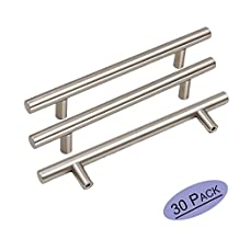 30Pack Goldenwarm Stainless Steel Kitchen Cabinet Door Handles Brushed Nickle T Bar Drawer Pull Knobs 1/2 inch Diameter Hole Spacing 128mm 5in