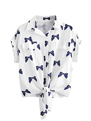 MakeMeChic Women's Collar Button Down Shirt Summer Knot Front Blouse Bow Print - Blouse Check Print