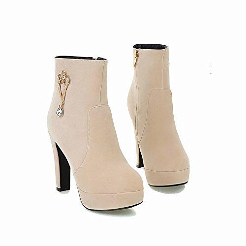Mee Shoes Damen Reißverschluss Plateau high heels Stiefel Beige