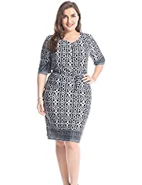 Womens Plus Size Border Printed Zipped Round Neck Dress with Waist Belt - Knee Length Casual