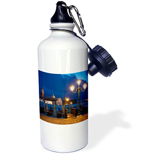 3dRose Danita Delimont - Italy - Dawn over Gondolas and San Giorgio Maggiore, Venice, Veneto, Italy - 21 oz Sports Water Bottle (wb_277555_1) by 3dRose