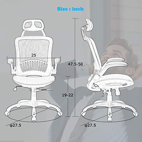 Computer Desk Office Chair, Ergonomic Executive Mesh Task Chair Lumbar Support for Office Chair with Flip-up Arms by BestOffice (Image #6)