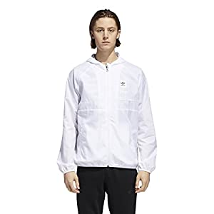adidas Originals Men's Skateboarding Blackbird Wind Jacket, White/White, L