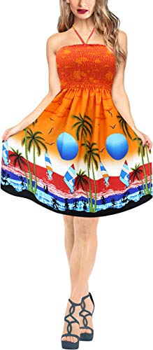La Leela Coconut Tree Sun Raska Likre Halter Beach Short Tube Dress Orange
