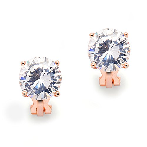 Mariell 3 Carat CZ Clip-On Earrings - 14K Rose Gold Plated 9.5mm Round Solitaire Cubic Zirconia Studs
