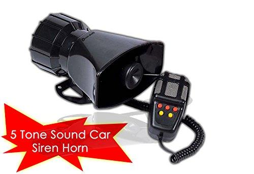 Zento Deals 80W Car Siren Horn With Mic PA Speaker System Emergency Sound Amplifier-5 tones