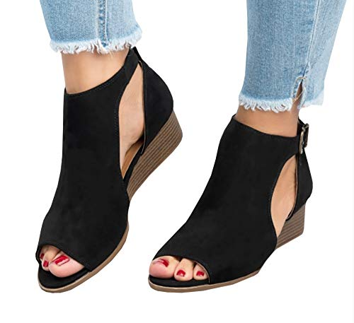 Toe Wedge Low Peep - Ruanyu Womens Wedge Sandals Peep Toe Cutout Ankle Strap Summer Low Heel Wedges