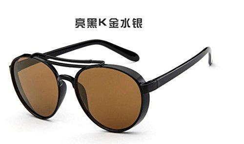 retro salvajes sol GLSYJ moda de marco espejo hombres sol señoras gold Moda black gafas LSHGYJ Bright gafas de w7Iq88C