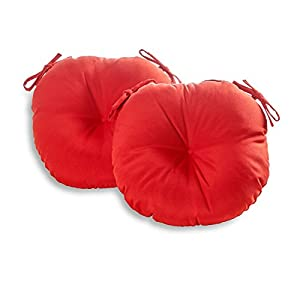 Greendale Home Fashions 18 in. Round Outdoor Bistro Chair Cushion (set of 2), Salsa