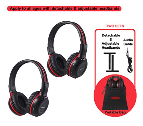 - 2 Pack of Wireless Car Headphones, Wireless Headphones for Kids, in Car Wireless Headphones with Travelling Bag for Universal Rear Entertainment System, 2 Channel Wireless Headphones
