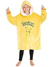 Pokemon Hoodie voor jongens, Pikachu Oversized Deken Hoodie Kids, Fleece Poncho Geel