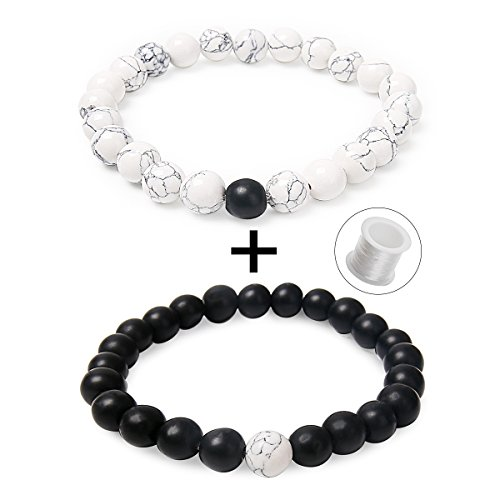 Couples His and Hers Bracelets 8mm Beads Matching Distance Bracelet(2 pcs) (White Howlite & Black Matte Agate)
