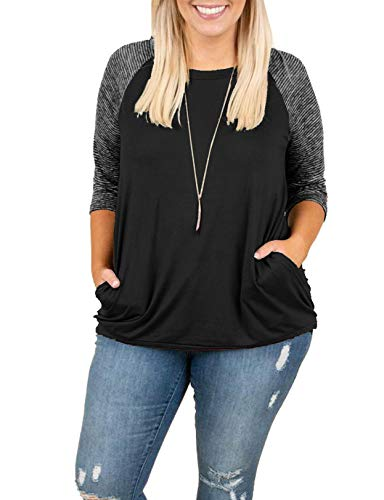 - Womens Tops Plus Size Raglan Shirt Short Sleeve 3/4 Sleeve Striped Crew Neck Tshirt Tunic with Pockets