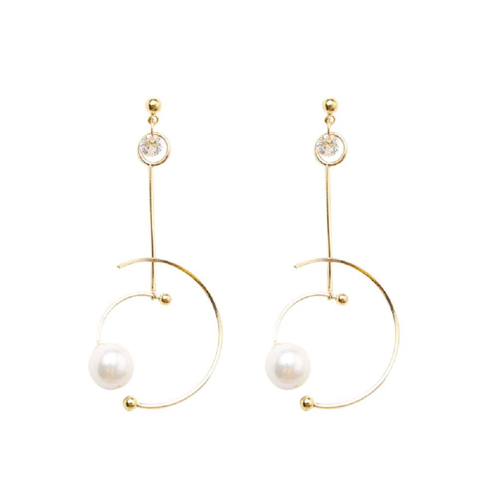 Geometric Circle Pearl Eardrop Stud Drop Dangle Earrings for Women Girls