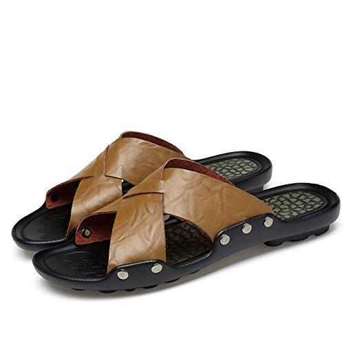 Dimensione interni Color uomo spiaggia Sandali 2018 antiscivolo esterni shoes per Cachi Giallo e EU Mens da 42 qPOw0