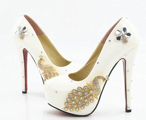 CSDM Bianco Phoenix Rhinestone Scarpe Da Sposa Scarpe Da Sposa Abito Scarpe Alte Tacute Scarpe Unisex Sweet Nightclub Shoes , 14 cm with high reservation , 41