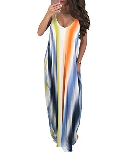 (LVCBL Women Summer Sexy Floral Strap Beach Party Maxi Dress Bodycon Baggy Dress Blue M)