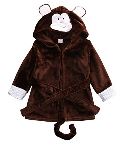 Glosun Baby Coral Fleece Bathrobe Toddler Kids Hooded Terry Robe Cartoon Animal Pajamas Sleepwear Bath Wrap (3T, Coffee Monkey)