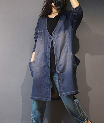 Loose Typ1 Trench YL9 Jacket Yesno Sleeve Coat Back Denim Casual Jeans Unique Pockets Floral Patch Blue Distressed Long Women 1tg8T