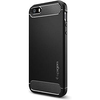 Spigen Rugged Armor iPhone SE Case with Resilient Shock Absorption and Carbon Fiber Design for iPhone SE 2016 - Black