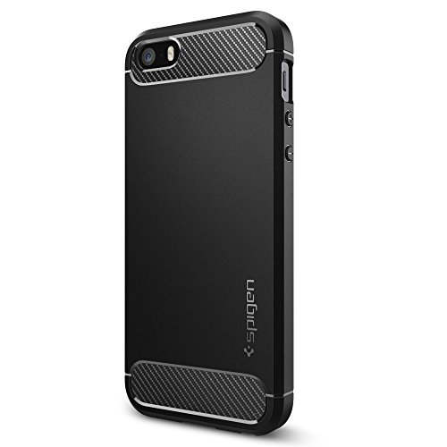 iPhone SE Case with Resilient Shock Absorption and Carbon Fiber Design for iPhone SE 2016 - Black ()