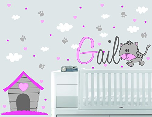 Personalized Name Clouds Hearts Stars Home Tiger Animal Series - Baby Girl - Wall Decal Nursery For Home Bedroom Children(739) (Wide 32