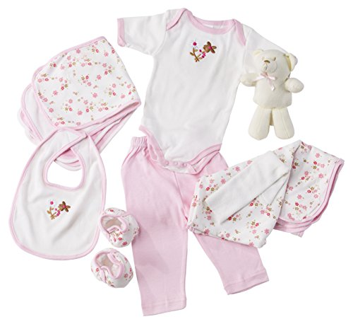 Big Oshi Baby Essentials Gift Basket 10-Piece Layette Set Infant up to 0-6 Months - Pink