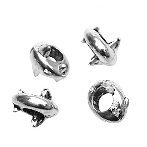 Monrocco 30pcs Dolphin Beads Charms with 5mm Large Hole Bead Bulk for Jewelry Making 13x12mm.