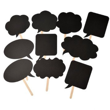 iBuy365 1 12 Set of 10pcs DIY Photo Booth Signs Photobooth Props Speech Bubbles on a Stick for Wedding or Engagement or Bridal Shower Party Decoration