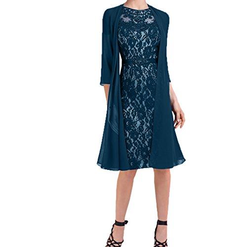 Abendkleider Brautmutterkleider Damen Festlichkleider Charmant 2018 Neu Chiffon Knielang Partykleider Jaket Tinte Blau mit Kurzes WgwHYwXq