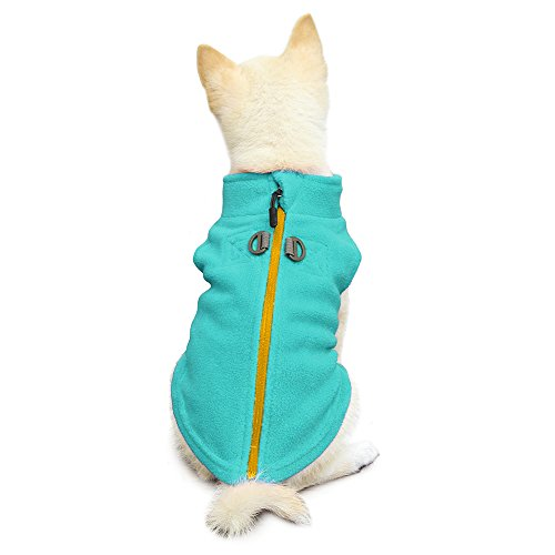 Gooby - Zip Up Fleece Vest, Fleece Jacket Sweater with Zipper Closure and Leash Ring, Turquoise, Large (Rescue Dog Sweater)