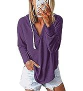Nekosi Womens Long Sleeve V Neck Hoodie Sweatshirts Lightweight Pullover Tops