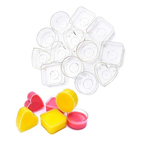 (30PCS Clear Plastic Tealight Cup DGQ Heat-Resistant Tea Light Holders Containers for Anniversary Votive Candle DIY Mold Tool)