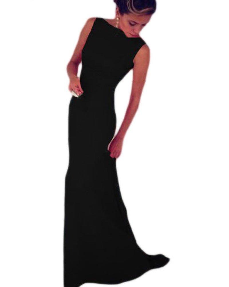 Lalagen Women's Royal Sleeveless Elegant Long Evening Dress Gowns black M