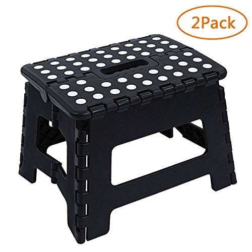 Maddott Super Strong Folding Step Stool for Adults and Kids, 8x6x7.5inch, 2pc, Holds up to 180 Lb, Black by Maddott