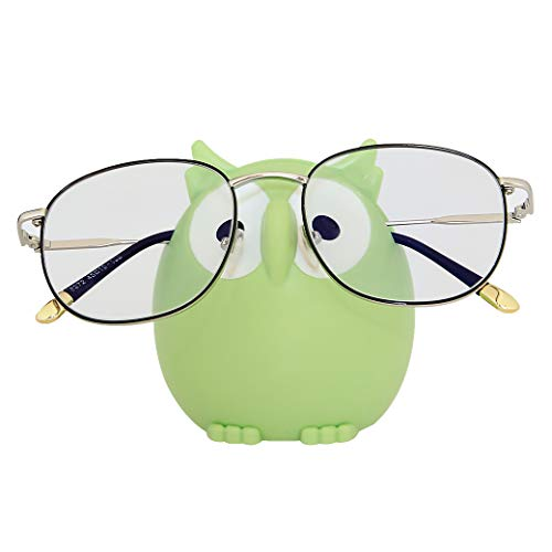 Homu Owl Sunglasses Eyeglass Holder Stand, Display Rack Smartphone Holder- Green