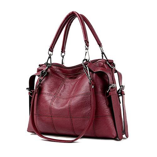 Main Sacs Red Féminine Capacité En Bandoulière Dames Casual Sac Souple Mode Shopping Sac PU Fourre Bandoulière Handle Top Pour à tout à Grande Cuir à Bag 6Fnanq4
