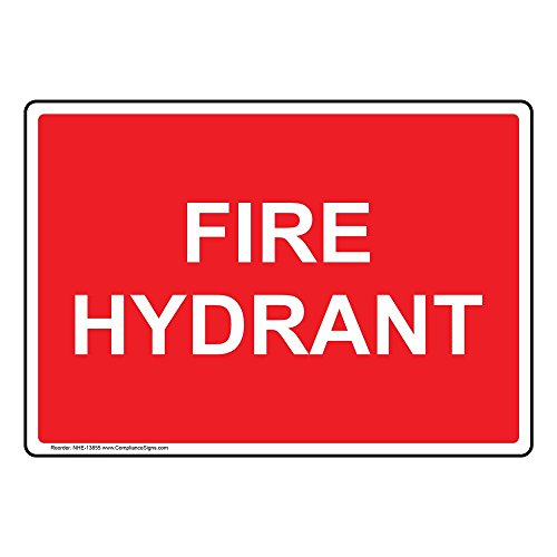 ComplianceSigns Aluminum Fire Hose / Hydrant Sign, 14 x 10 in. with English Text, (Red Hydrant Tag)