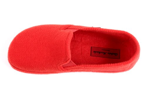 Andres Machado AM002.Alpine Felt Closed-Back Slippers.MADE IN SPAIN.Petite and Large sizes. Size range: Size range: UK 0.5 to 14/EU 32 to 50. Red rofcHclWT