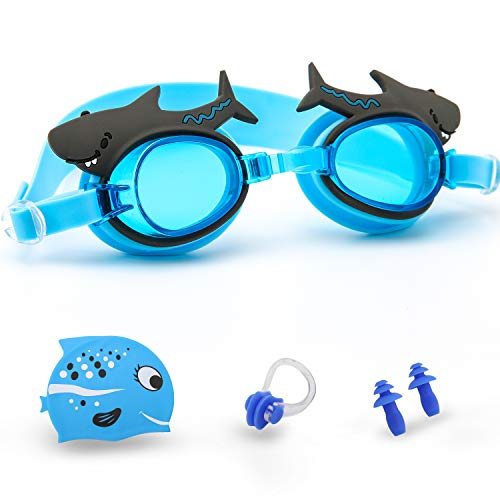 Kids Swim Goggles Age 3-9 Cartoon toddler goggles Anti-Fog Waterproof UV Protection No Leak Soft Silicone Frame And Strap Swim Glasses Kids Boys Girls Early Teens with Swim Cap and Swimming Earplug