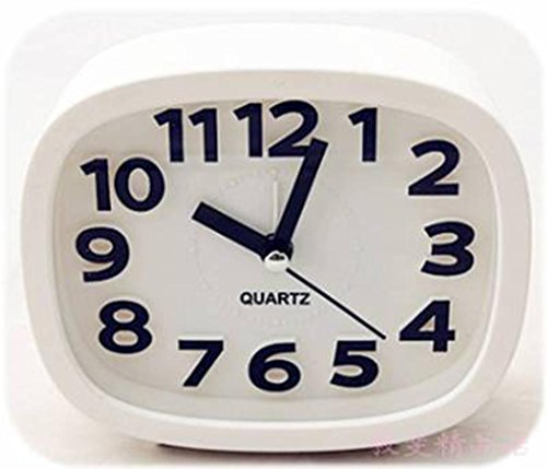 Ysayc Clock Rectangular Candy Color Small Alarm Clock Stereo Digital High-Grade Small Alarm Clock , white