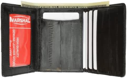 Genuine Eel Skin Leather Trifold Wallet Card Holder with Id Window By Marshal