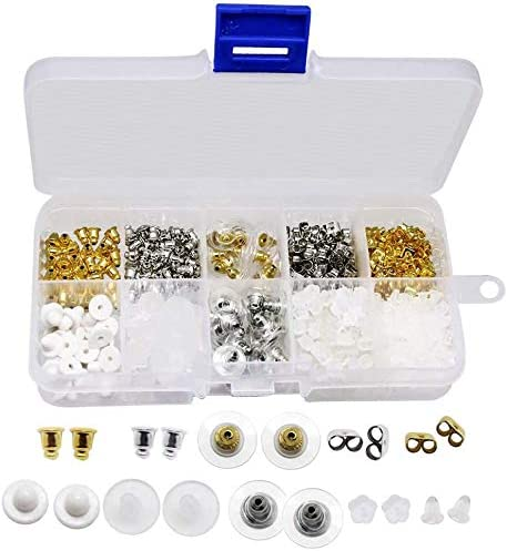 1040 piezas Tuercas de Pendientes Kit de Pendientes de Goma de Metal Tuercas O/ído Mariposa Topes de Seguridad 10 Estilos